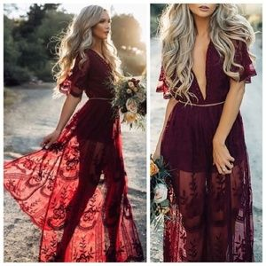 Red Wine Floral Boho Lace Maxi Romper Dress!